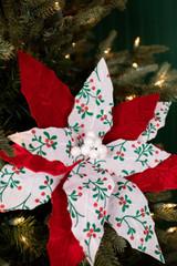 Red and White Velvet Berry Poinsettia Christmas Tree Flower