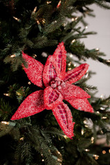 Red Plaid Snowy Wool Poinsettia Christmas Tree Flower
