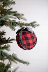 Red and Black Buffalo Check Ball Christmas Tree Ornaments