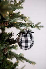 """4"""" Frosted Check Ball Christmas Tree Ornaments - White and Black"""