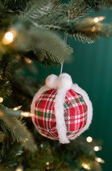 Green, Red, and White Plaid Snowball Christmas Ornaments