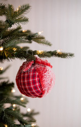 Red and White Plaid Wool Snow Ball Christmas Ornaments