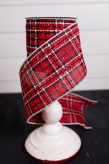 Red, Black, and White Snow Flecked Plaid Christmas Ribbon