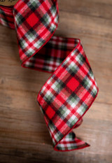 Red, Green, and White Wool Plaid Christmas Tree Ribbon