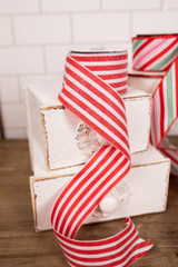 Red and White Glitter Candy Cane Holiday Christmas Ribbon