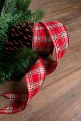 Red, Black, and White Traditional Plaid Christmas Tree Ribbon