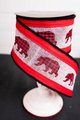 Buffalo Check Bear Christmas Holiday Ribbon