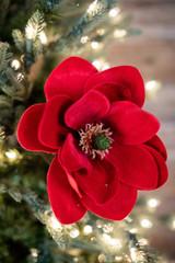 Red Velvet Magnolia Christmas Tree Flower Stem