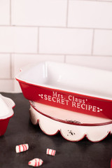 Large Red and White Stoneware Oven Dish
