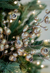 Frosted Iced Gilded Gold Glam Christmas Spray