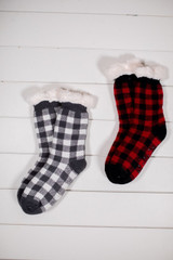 Buffalo Plaid Non Slip Thermal Slipper Socks