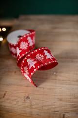 "2.5"" X 10 Yard Red and White Snowflake and Christmas Tree  Ribbon"