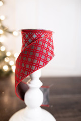 "2.5"" X 10 Yard Red Patterned Holiday Ribbon"