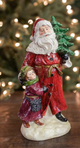 """11.5"""" Resin Frosted Traditional Santa with Child"""