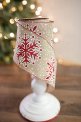 "4"" X 10 Yard Snowflake Glitter Linen Christmas Ribbon"