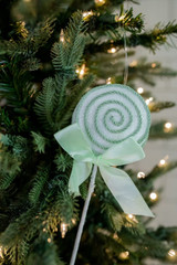 """12"""" Sugar Corded Lollipop Pick/Ornament with Bow - Green/White"""