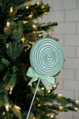 """18"""" Sugar Corded Lollipop Pick/Ornament with Bow - Green/White"""