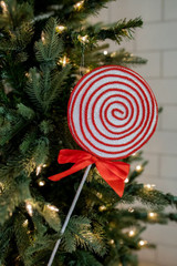 """18"""" Sugar Corded Lollipop Pick/Ornament with Bow - Red/White"""