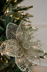 """24"""" Glitter Sequin Mesh Poinsettia Christmas Tree Flower"""