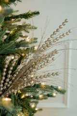 "27"" Glitter/Sequin Berry Grass Christmas Tree Sprays - Champagne"