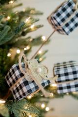 Black and White Buffalo Check Package Christmas Tree Spray