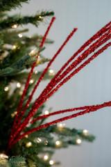 "32"" Red Mini Glitter Berry Grass Christmas Spray"