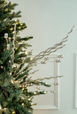 """37"""" Glitter Sequin Curly Willow Ball Christmas Tree Spray - Champagne"""