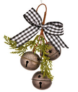 """6"""" Galvanized Bells With Buffalo Check Bow Christmas Ornament"""