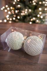 12 cm Glitter Bead Ball Ornament - Set of 2