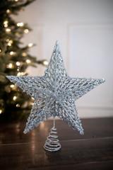 "13"" Silver Sequin Glitter Star Tree Topper"