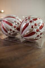 15 cm Mercury Ridged Diamond Stripe Ball Christmas Tree Ornaments