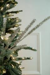 "32"" Glitter Sequin Noble Pine Christmas Tree Sprays Silver"