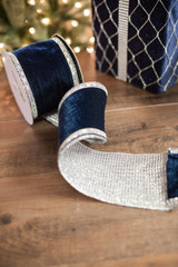 "4"" X 5 Yard Navy Embroidered Jewel Edge Velvet Ribbon"