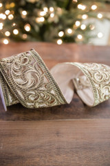 """4"""" X 5 Yard Embroidered Scroll  Velvet Wired Ribbon"""