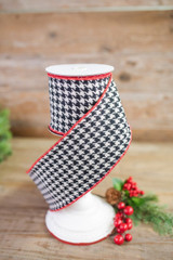 """4"""" X 5 Yard Hounds Tooth/Velvet Wired Ribbon"""