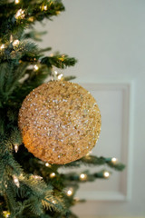 """6"""" Sequin Bead Champagne Glitter Ball Christmas Tree Ornaments"""