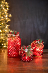 Lighted Holiday Glass Luminary w/ Floral Accent and Timer (battery operated) - Set of 3