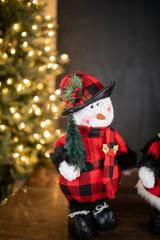 "15"" Plush Snowman with Buffalo Check Plaid Sweater"