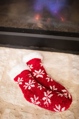 Red Chenille Snowflake Thermal Slipper Socks w/ Non-Slip Grippers
