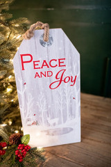 """15.75"""" Wood Holiday Hanging Sign- Peace and Joy"""