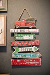 """22.4"""" Wood Holiday Sign w/ Vehicle Truck"""