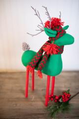 """20"""" Green Yule Reindeer W/ Cap"""