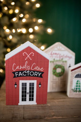 Candy Cane Factory House Block Sign