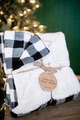 Velvety Cozy Sherpa Black & White Plaid Blanket