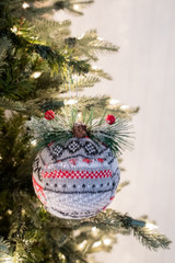 "6"" Knit Fabric Deco Ball Christmas Tree Ornaments"