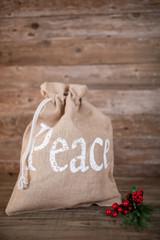 """16x22"""" Peace Burlap Drawstring Bag"""
