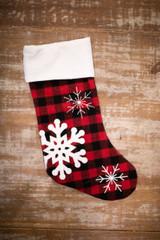 """20"""" Red/Black Plaid Snowflake Stocking"""