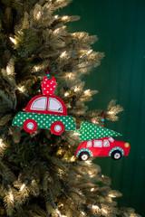 """4.5"""" Felt Car Christmas Ornaments"""