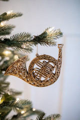 """6-7"""" Vintage Musical Instruments Christmas Tree Ornaments Horn"""