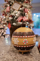 Metal Gingerbread Ornament Ball with Lights